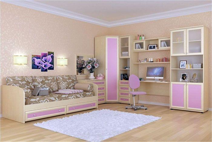 Модули включают в себя весь мебельный набор: шкаф, стеллаж, стол, стул, кровать, ящики, полки