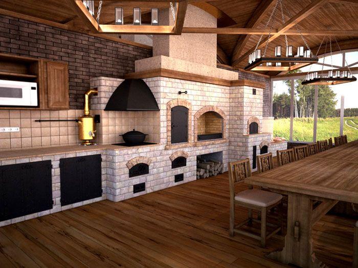 Удобно, если барбекюшный комплекс располагается в одном краю беседки, оставляя свободное место для установки стола и лавочек, свободного перемещения в процессе приготовления пищи