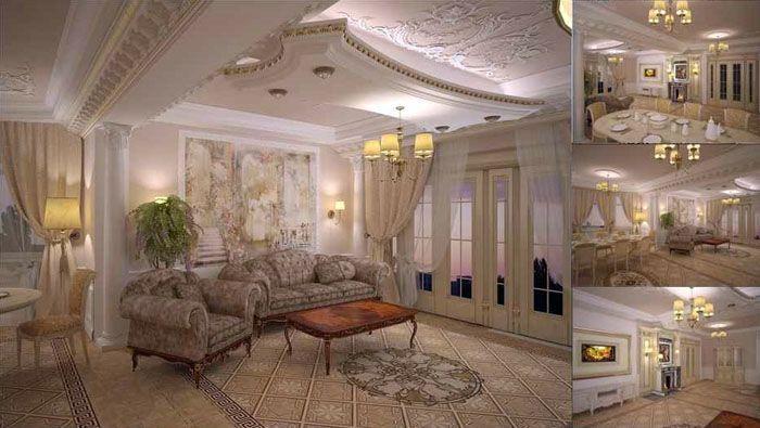 Электронное изображение в формате 3D удобно для изучения с разных ракурсов дизайна зала в квартире