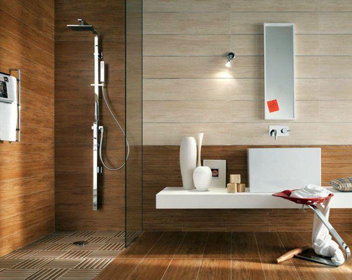 Тёплые оттенки, рельефные поверхности помогут сделать ванную комнату уютной и привлекательной