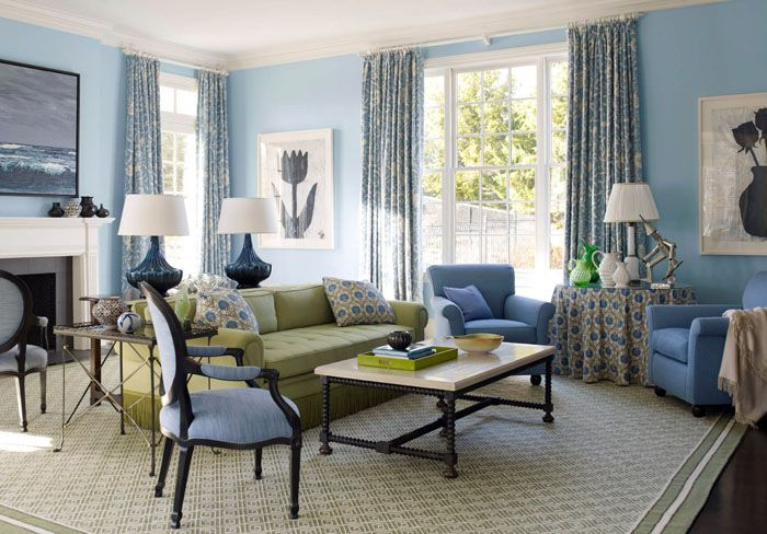 Голубая гостиная в классическом стиле