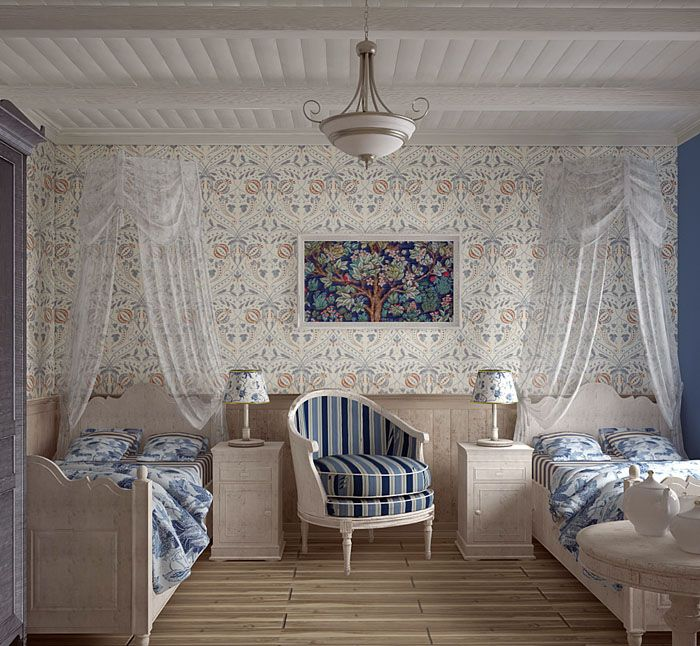 Если спальню делят двое, то для каждой кровати можно поставить собственную тумбочку