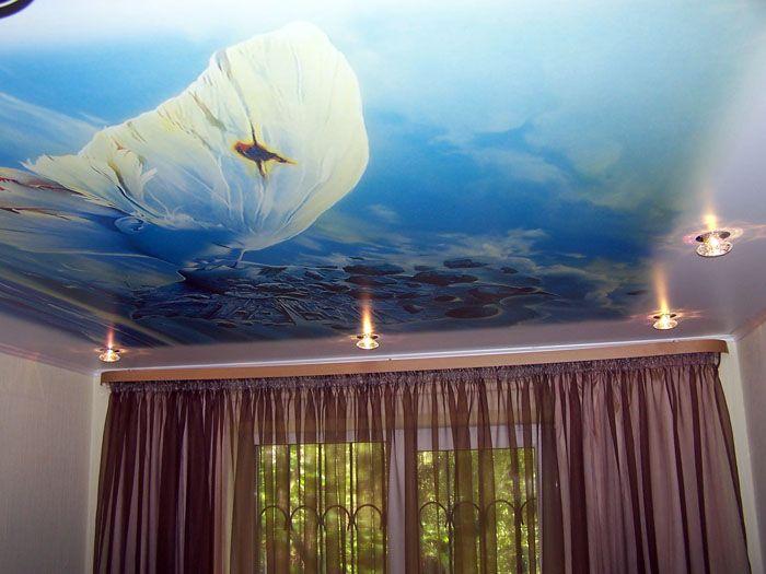 Натяжные потолки с рисунком для зала. Чем больше смотришь на фото, тем сильнее желание поднять голову и увидеть на собственном потолке такое же чудо