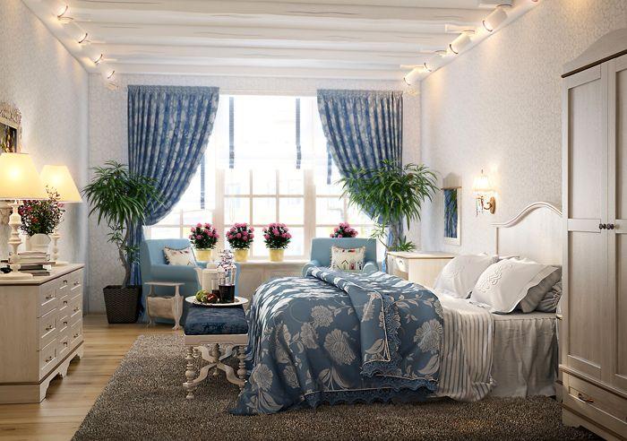 Несмотря на обилие текстиля, королева спальни прекрасно проглядывается