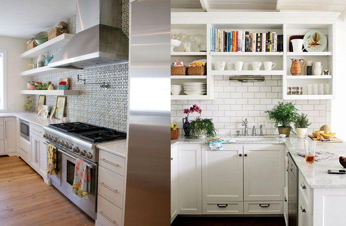 Компактные открытые полки, вместо крупногабаритных навесных шкафов,–хорошие идеи на фото для создания в квартире гармоничного дизайна маленькой кухни