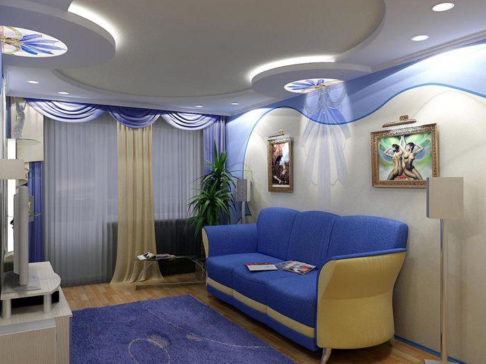 Многоуровневые потолки могут скрыть трубы, арматуру и просто отвлечь от недостатков помещения