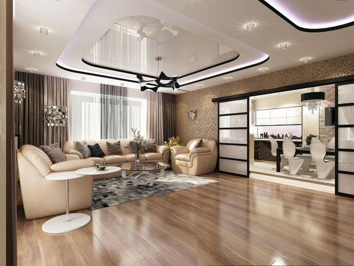 Потолок должен дополнять мебель, а не перетягивать всё внимание на себя