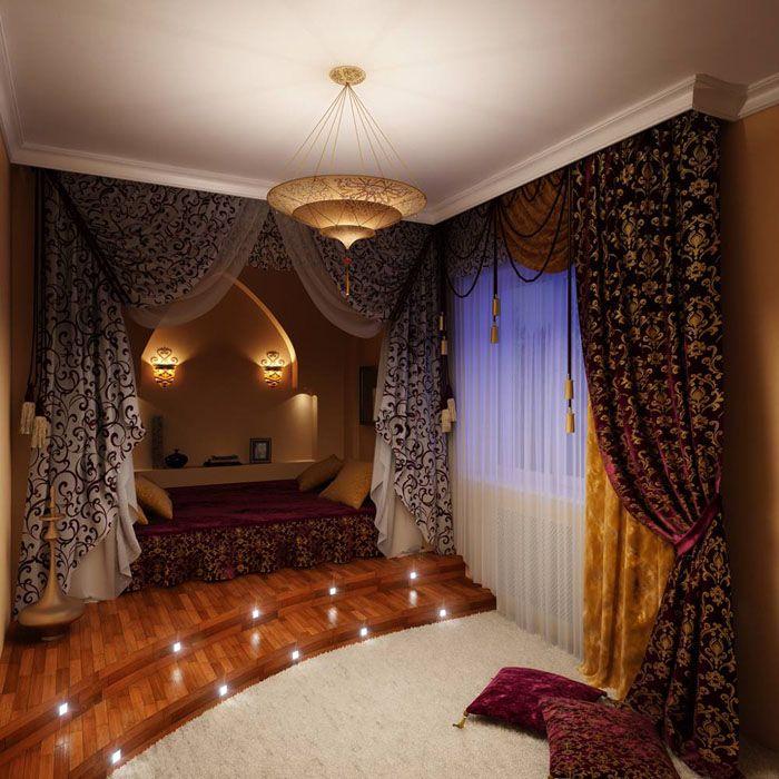 Ночные шторы, как на фото, отлично подходят для спальни человека, который чутко реагирует на свет из окон. У многих в окна светят уличные фонари