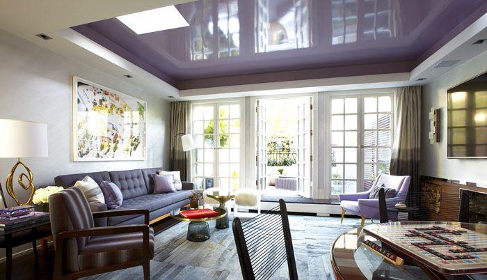 Матовый или глянцевый потолок может быть белым, кремовым, бежевым, светло-коричневым, светло-жёлтым, лавандовым