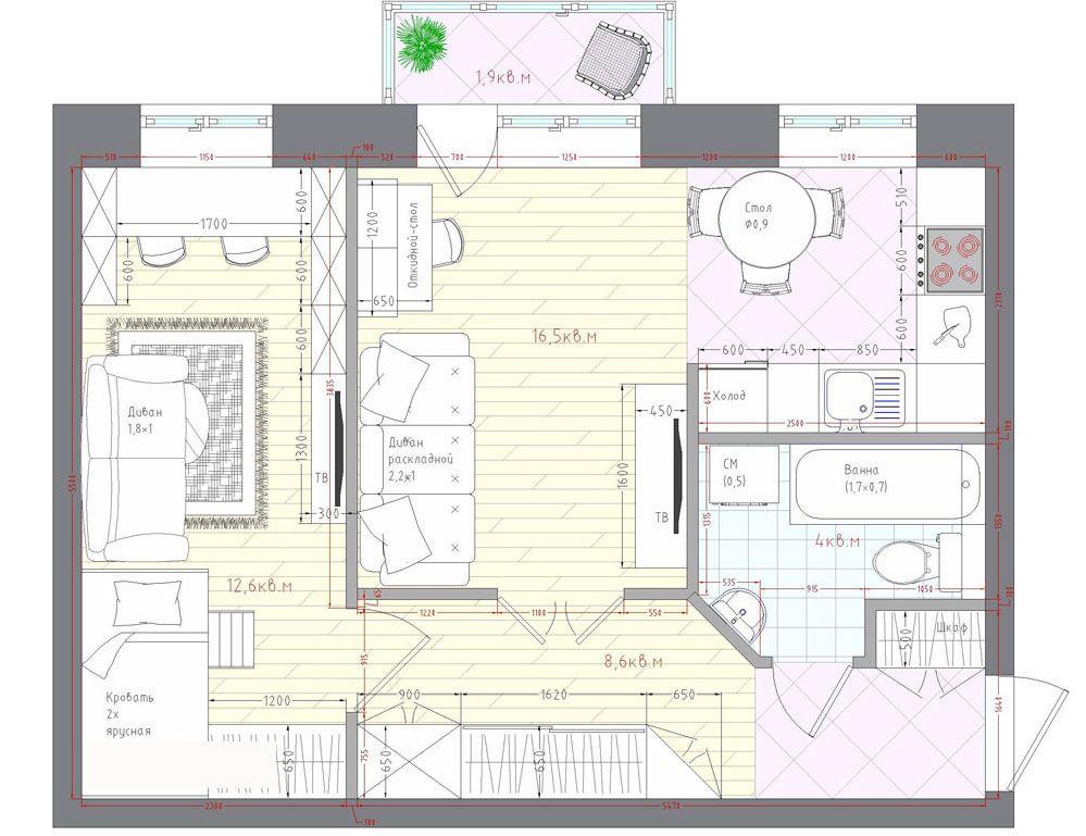 Расширение гостиной сделано за счёт объединения с другими комнатами: столовой, кухни, застеклённого балкона