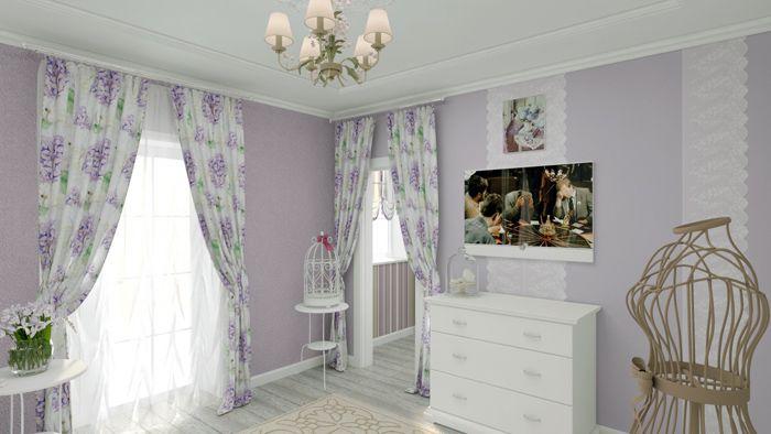Если общий тон комнаты лиловый, то лаванда на шторах придётся кстати