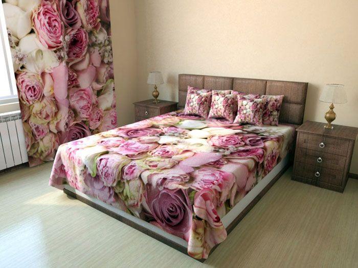 Фотопечать может быть идентичной покрывалу на кровать. Здесь опасно перегрузить комнату, особенно если она маленького размера