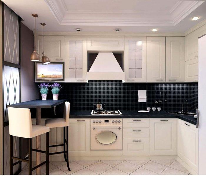 В квадратной кухне даже при небольшой площади можно установить корпусную мебель традиционным способом, буквой «Г»