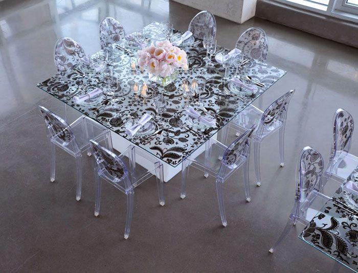 Стеклянный стол для кухни с фотопечатью: с каким настроением мы находимся в кухне?