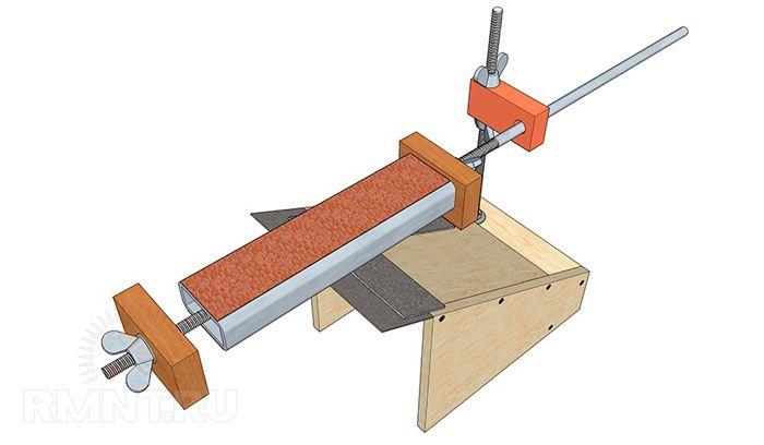 Эскиз приспособления для заточки ножей с регулируемым углом заточки, доступного к изготовлению своими руками в домашних условиях