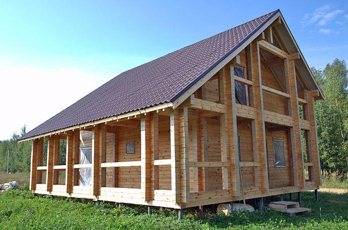 Проект загородного дома из профилированного бруса «Кентукки» размером 8×8 метров