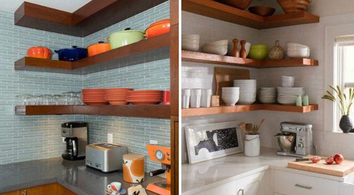 Угловые полки очень функциональны, особенно на малогабаритных кухнях