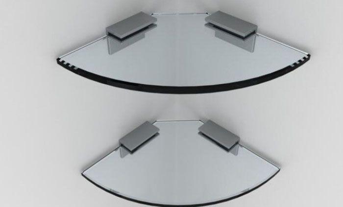 Угловые полки из стекла