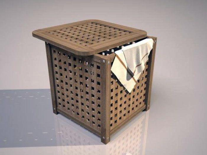 Дерево – это достаточно простой материал в обработке, поэтому с его использованием можно изготовить корзину для белья своими руками
