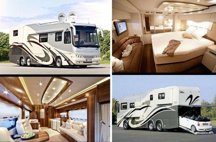 Современные модели автодомов могут оснащаться не только местами для отдыха, но также и имеют в своей конструкции даже «гараж» для легкового автомобиля