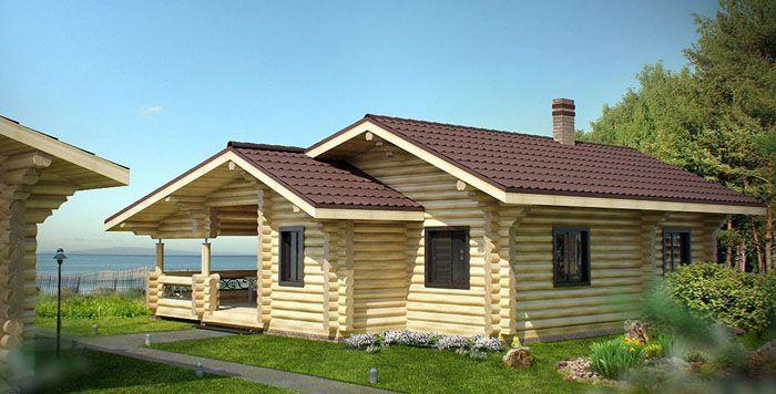Одноэтажный дом из оцилиндрованного бревна 10×10 метров