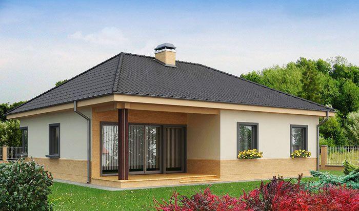 Практичный одноэтажный дом с многоскатной кровлей и угловым окном в кухне − проект «Z24» общей площадью 110,6 м2