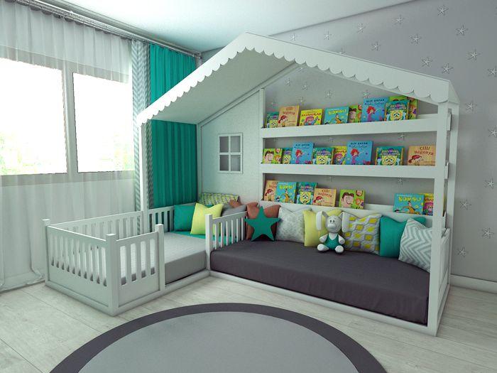 Кровать-домик с пристроенным диваном и полками для книг