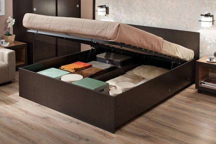Двуспальная кровать с подъёмным механизмом – это удобно и практично при использовании