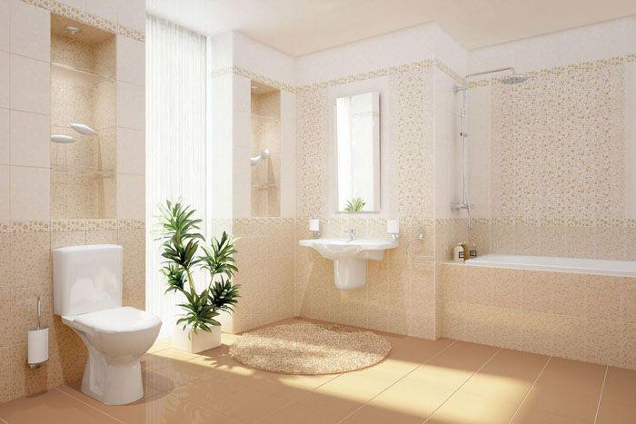 Можно найти плитку любых оттенков беж. Но не стоит выбирать такие тона, если освещение в туалетной комнате будет скудным: в этом случае будет не ожидаемый визуальный эффект, а ощущение немытых стен