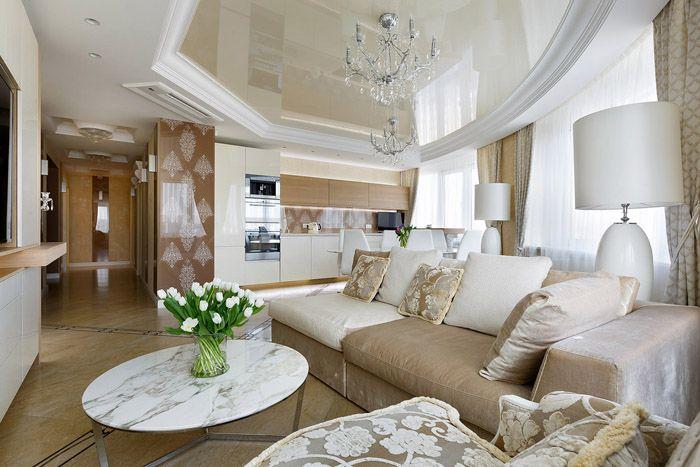 За счёт расстановки цветовых акцентов беж в помещении рождается спокойствие, взору не мешают пёстрые пятна: такая нежная мебель будет уместна и среди других цветов стен и потолка