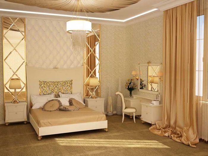 Кровать, подушки, шторы — лучшего эффекта дизайнеры достигают именно при тщательном выборе сочетаний цветов