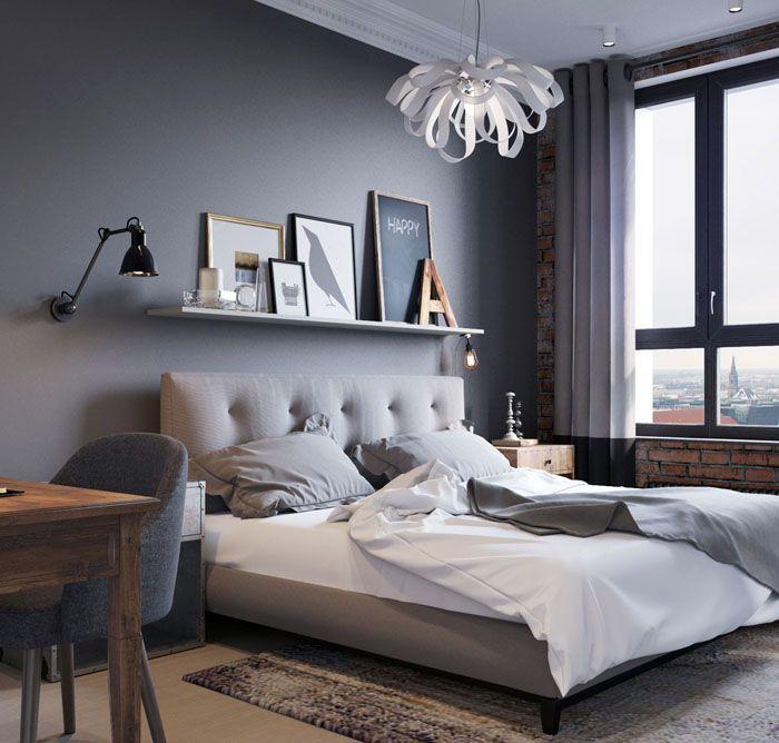 Серые обои в спальнеотносят к нейтральным фоновым оттенкам. Для лофта, минимализма, хай-тека серый цвет идеален. Многие мужские интерьеры основаны на сочетании с серым цветом стен