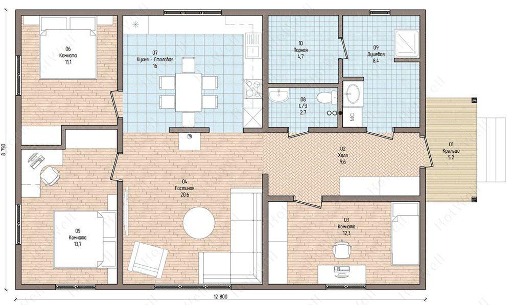 Проект одноэтажного дома общей площадью 100 м2
