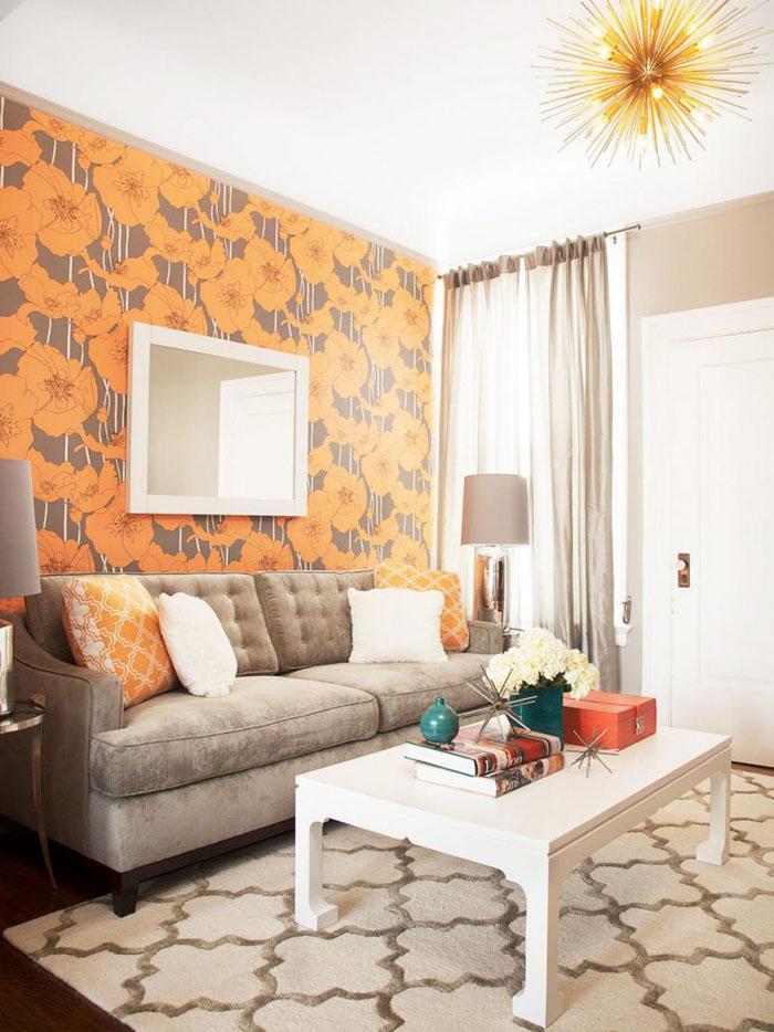 Яркий персиковый цвет делает беж не безликим, а гармоничным дополнением
