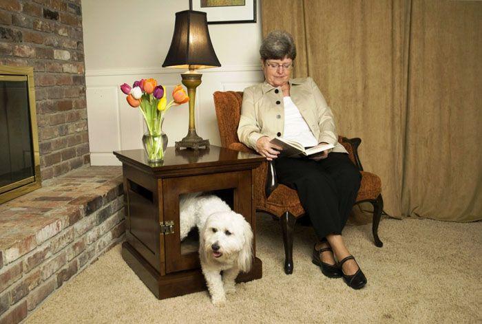 Освобождённый от вещей журнальный столик-комод сам по себе становится конурой для домашнего пёсика