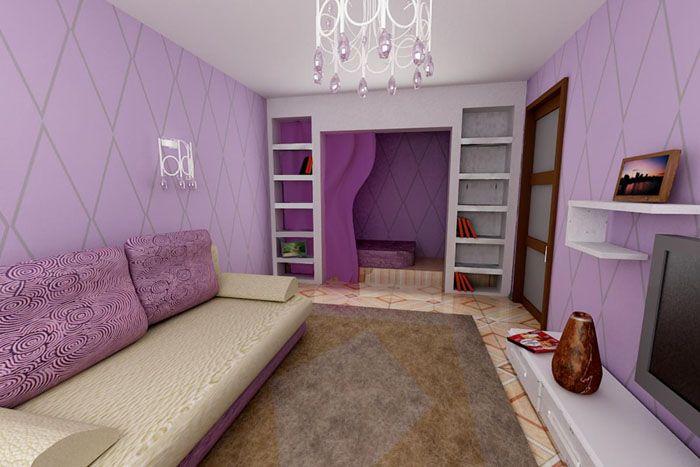 В зависимости от того, какой краски больше в дизайне, смещаются психологические акценты восприятия комнаты. Если превалируют фиолетовые и сиреневые оттенки, то очень может быть, что люди, сидящие в гостиной, почувствуют желание открыть тайны своей души