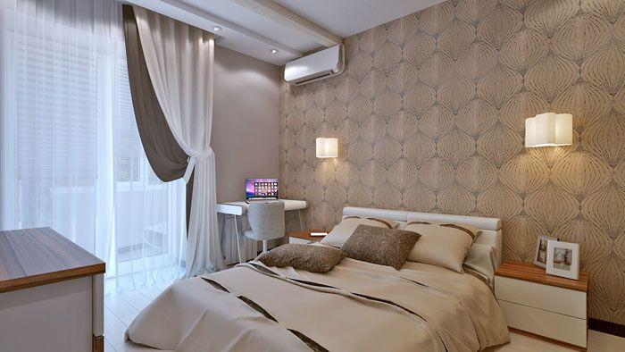 Спальня не содержит ничего, что бы вызывало напряжение в глазах. Да и душа в таких цветах, как дома