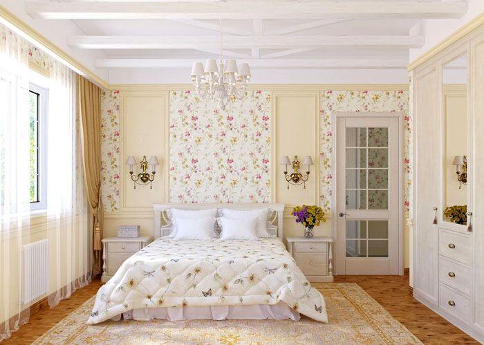 Чередование однотонного фона и цветочного узора делает спальню ещё уютнее