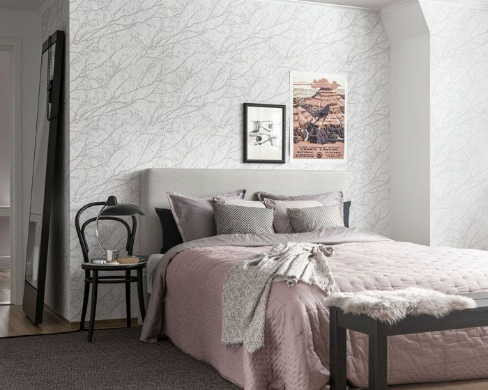 Белый цвет является основой для скандинавской спальни