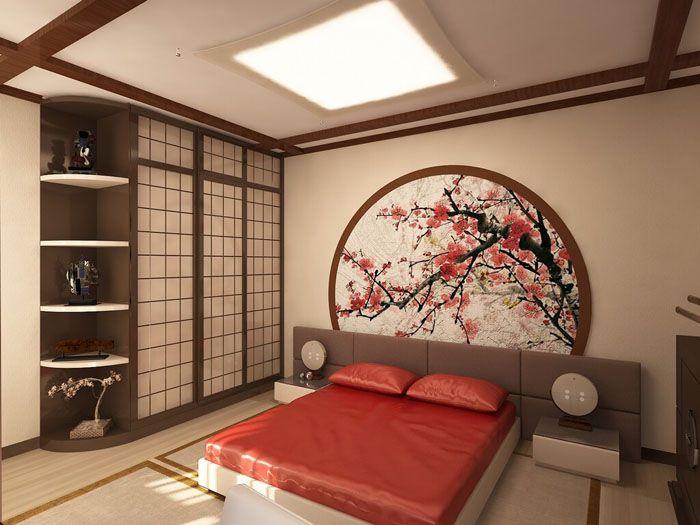 Древесный или соломенный тон стен создаст атмосферу японского домика. Присутствие сакуры как декоративного элемента приветствуется