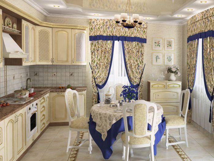 Сочетание кремового, белого и синего смотрится гармонично с синей окантовкой занавесок и скатерти
