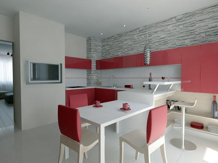 Розово-красные мебельные гарнитуры не превратят кухню в яркое местечко при условии обилия светлого фона и приглушённых тонов гарнитура