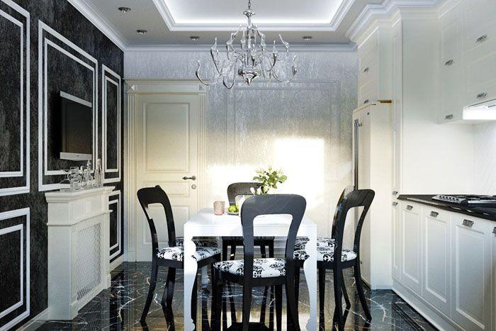Шероховатые стены, глянцевый каменный пол, многоуровневый потолок с подсветкой: в этом интерьере шикарно всё, от белой небольшой консоли до кухонного гарнитура