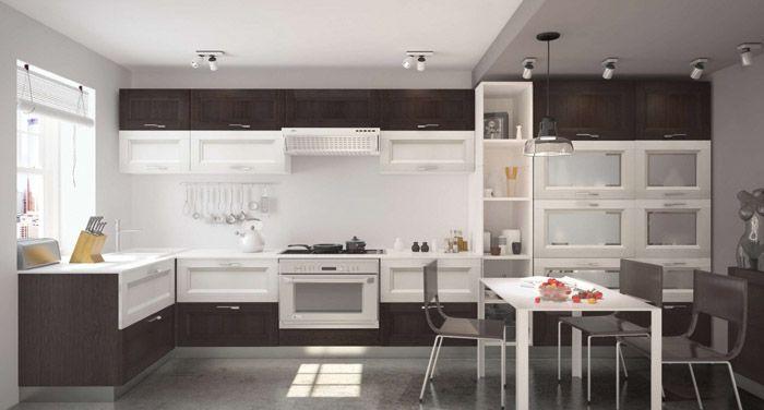 Бело-коричневая кухня получается интересной за счёт того, что коричневый представлен естественным оттенком дерева