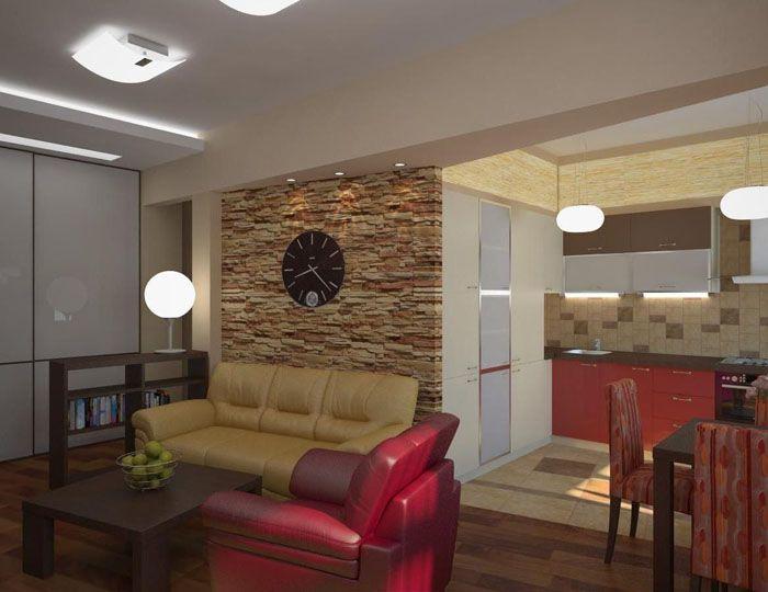 Роль отсутствующей стены берёт на себя оформление зон цветом, освещением, мебелью