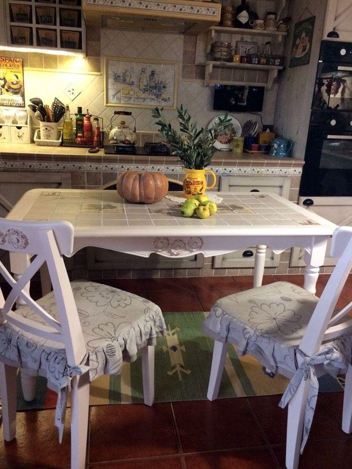 Плитка оригинально украшает стол