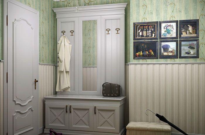 Оливковый фон подходит под растительную тематику и оттеняет белую мебель