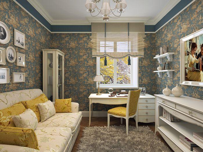 Дизайн современной гостиной в прованском стиле: удачная попытка сделать стены более тёмными, а традиционная светлая мебель компенсирует это затемнение