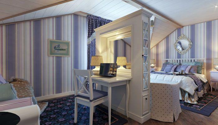 Бело-лиловая спальня подходит не только девушкам, но и юношам