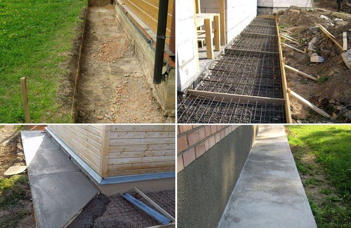 Этапы выполнения работ с использованием бетона: изготовление траншей с трамбовкой основания, монтаж опалубки и укладка арматуры, заливка бетона и его выравнивание